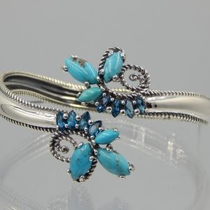 Turquoise Blue Topaz Sterling Hinged Cuff Bracelet